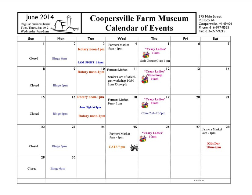 Monthly Calendar Of Events : Tractors and farm tools coopersville museum